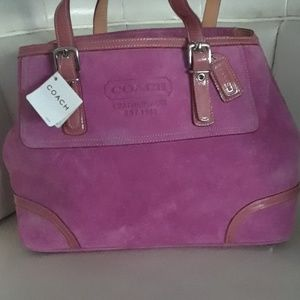 AUTHENTIC NWT Pink Suede/patent leather Coach Bag